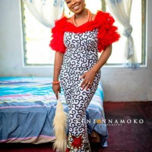 puffy sleeve ankara gown