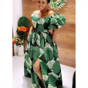 ankara gown with flay sleeve