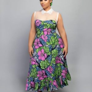 ankara gown with collar