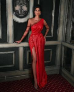 Red reception gown