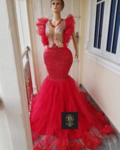 gold and red reception dress
