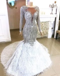 silver dinner gown