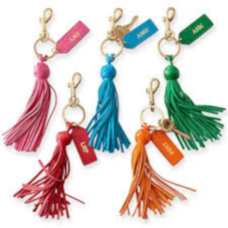 Monogram Leather Tassel Key Chain