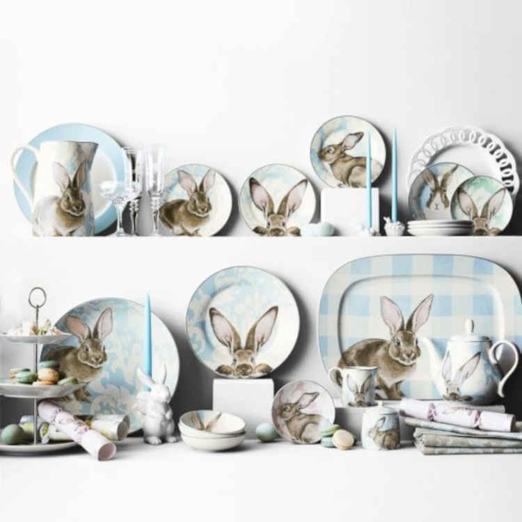 Damask Bunny Mixed Appetizer Plates