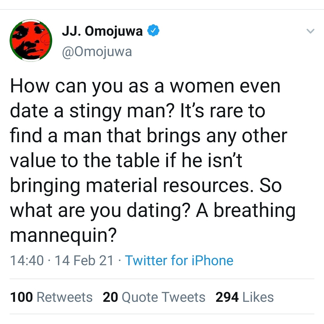 It?s rare to find a man that brings any other value to the table if he isn?t bringing material resources - Omojuwa writes