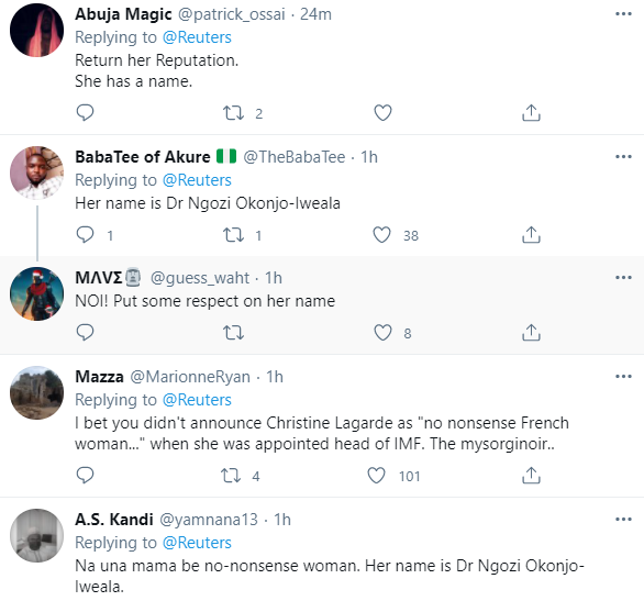 World Trade Org:  Nigerians call out Reuters for describing Ngozi Okonjo Iweala as a No-Nonsense woman on a headline instead of using her name