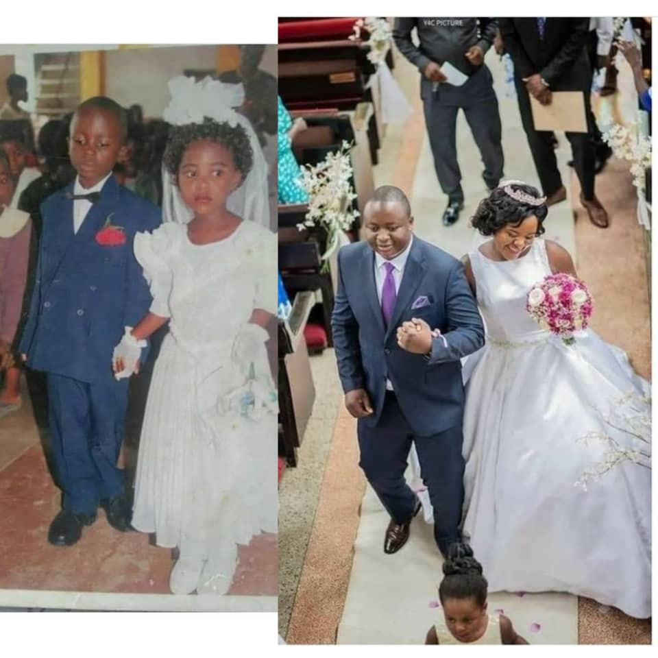 Couple get married years after walking down the aisle together as ring bearer and flower girl
