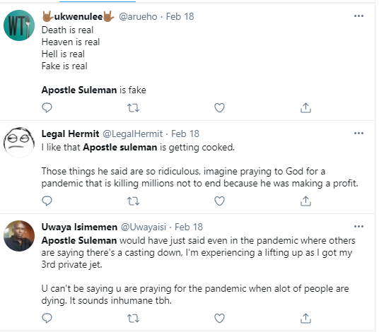 Christianity has reduced the national IQ of Nigerians by many points - Nigerians react after Apostle Suleman revealed he bought his 3rd jet during the pandemic and was praying for Covid not to end