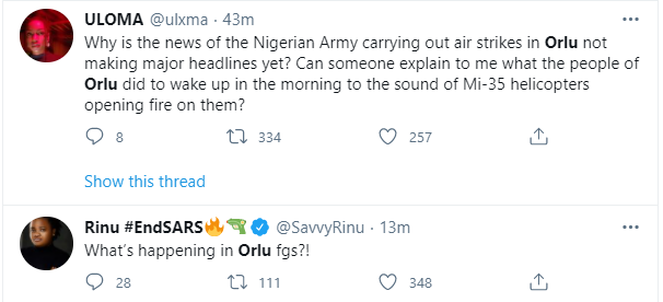 Nigerian Military accused of carrying out air strikes in Orlu, a civilian populated area in Imo state (videos)