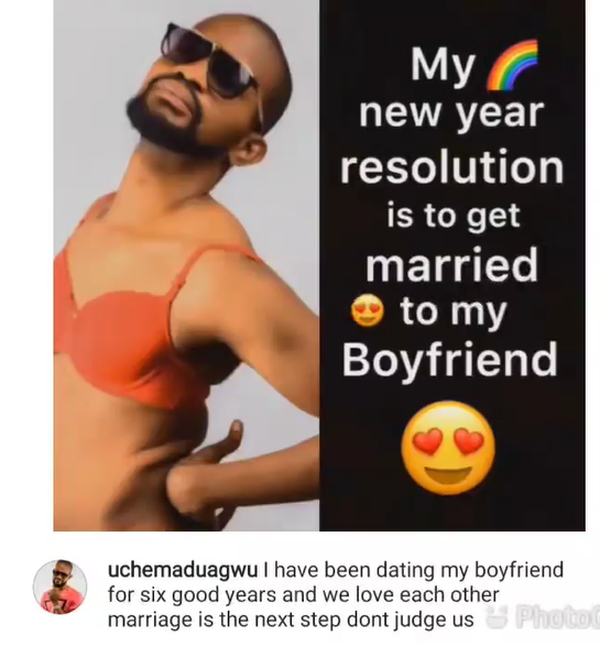 My new year resolution is to get married to my boyfriend of six years- actor Uche Maduagwu reveals