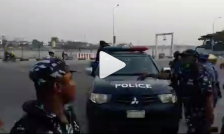 Suspected #occupylekkitollgate protesters arrested this morning at Lekki toll gate (video)