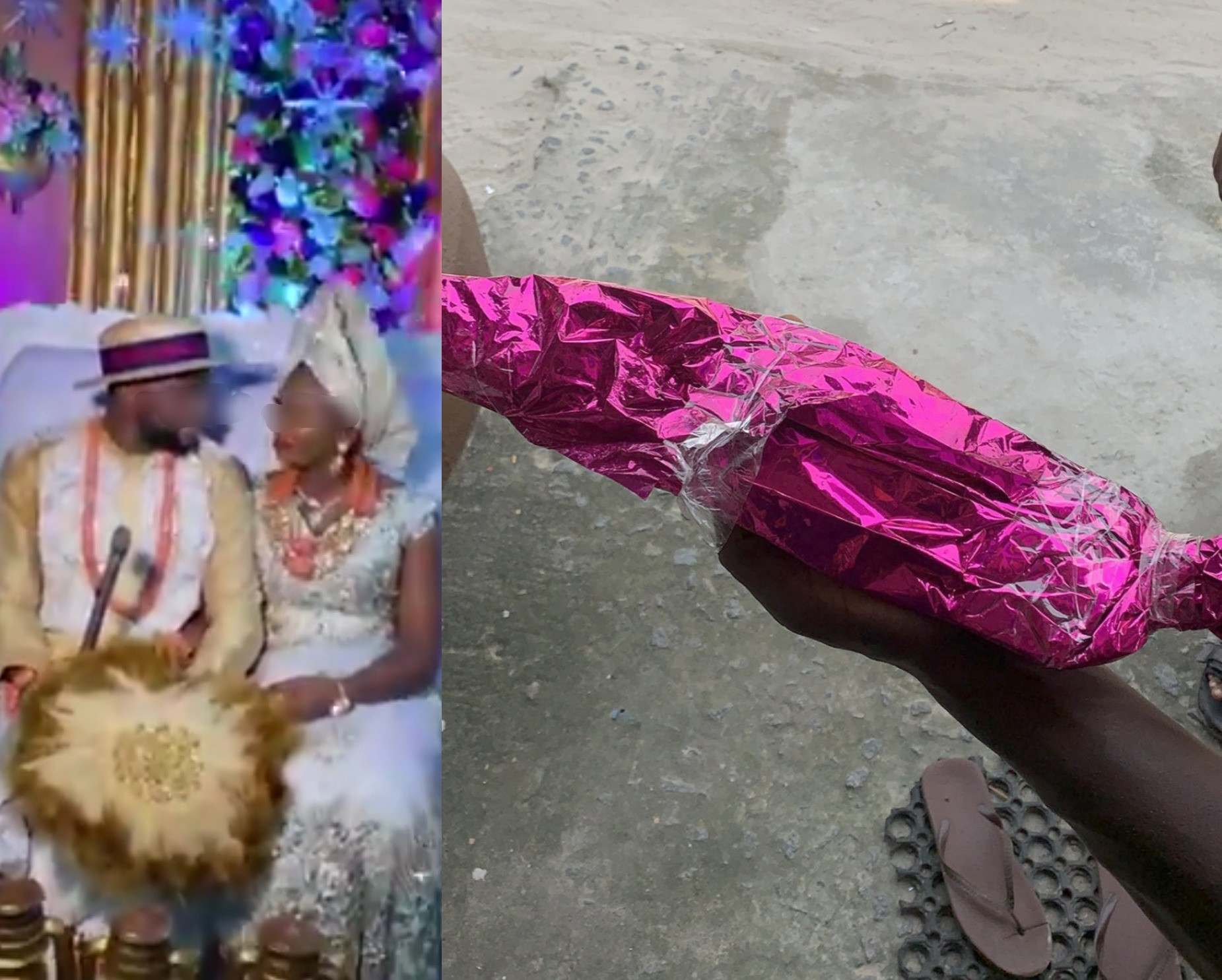 Family expresses worry as bride is given a wrapped cutlass as a wedding gift