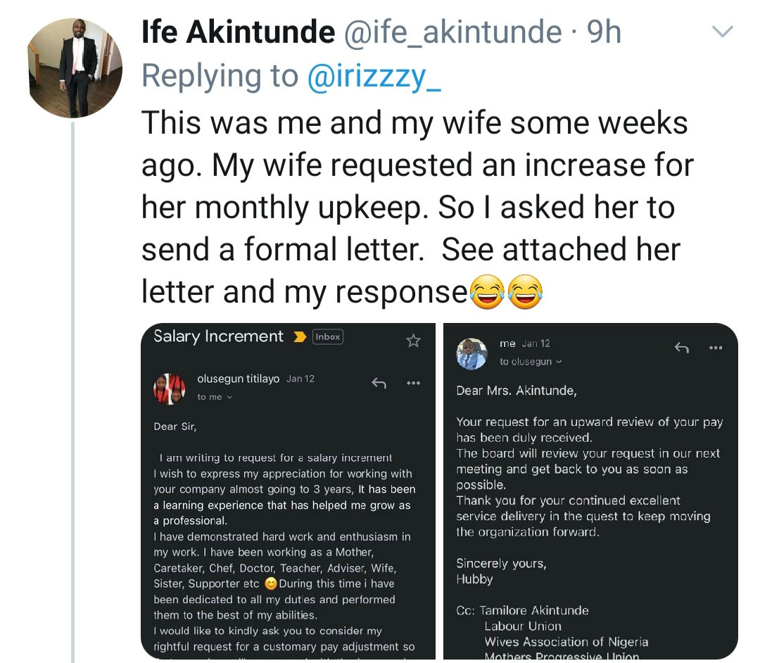 Man shares hilarious mail from his wife requesting an increase in monthly upkeep and his response to her
