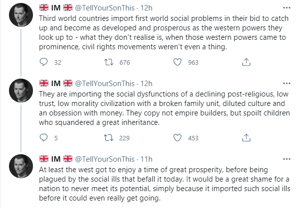 Third world countries import first world social problems in their bid to catch up to western powers - Twitter user