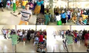 Trending video of church members praying and armed with different weapons to