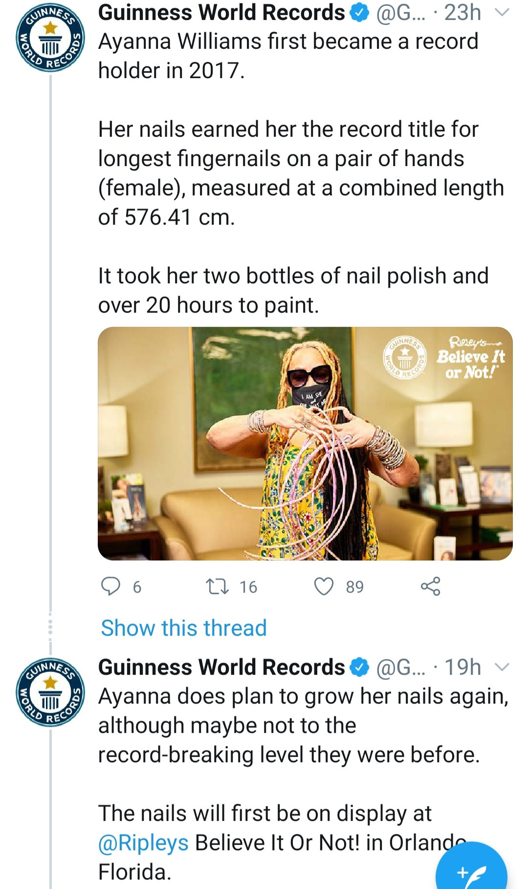 Woman with Guiness World Record for longest fingernails cuts them after nearly 30 years