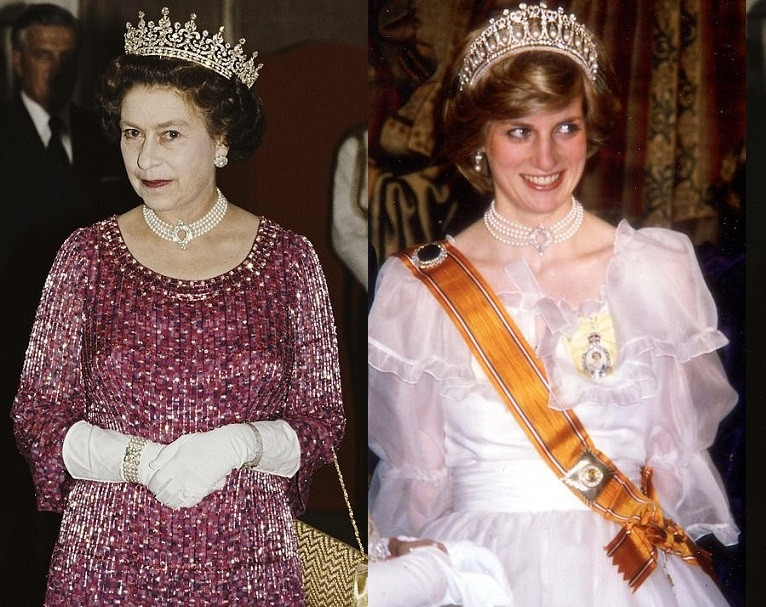 Kate Middleton wears a diamond and pearl necklace the Queen once loaned to Princess Diana for Prince Philip