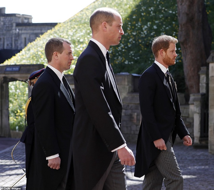 Prince William is reunited with his estranged brother Harry at Philip