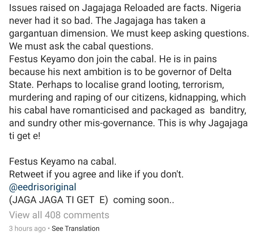 Eedris Abdulkareem hits back after Festus Keyamo accused him of singing about him following an alleged failed attempt at blackmail