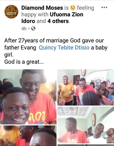 Nigerian Gospel artiste, Quincy Tebite Dtisio and his wife welcome a baby after 27 years of marriage