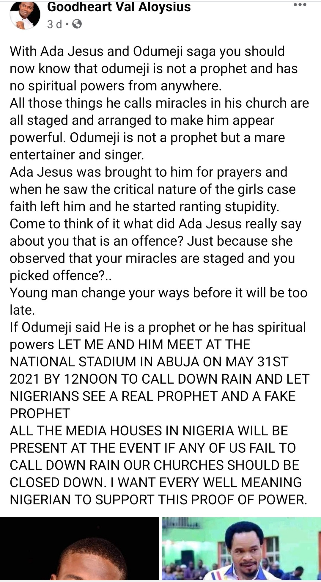Pastor challenges Prophet Odumejeje to a spiritual battle and invites the public to come and watch