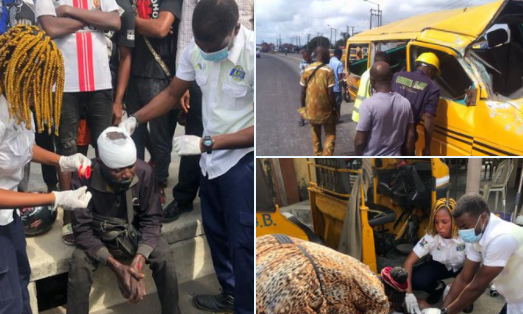 Man dies, others injured as commercial bus tumbles after one of its tyres burst while driving on top speed in Lagos (photos)