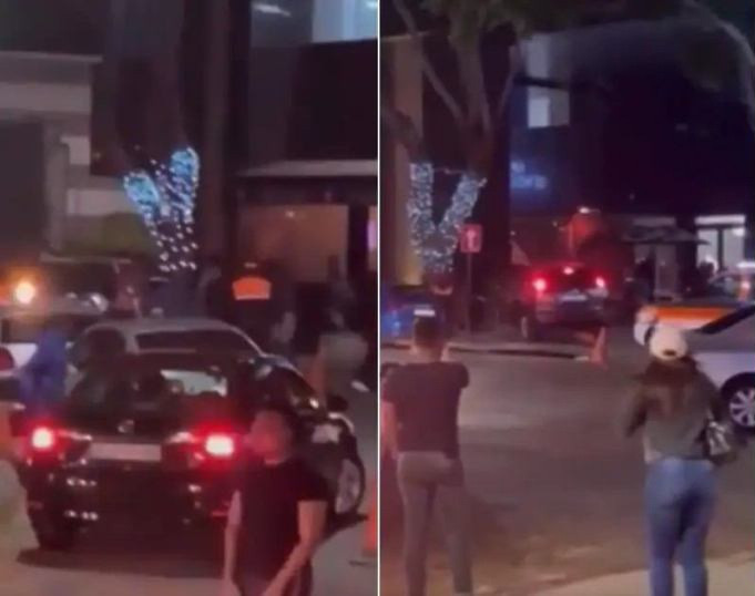 Moment man rams his car into a restaurant after his waitress ex-girlfriend refused to talk to him (video)