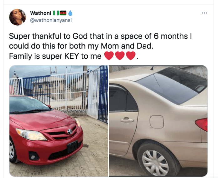 Wathoni Buys Parents New Cars In 6 Months, Says Family Is Super Key