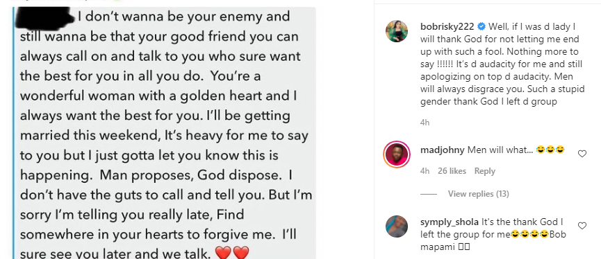 Such a stupid gender, thank God I left the group - Bobrisky reacts to message a man sent his girlfriend after announcing his marriage to another woman