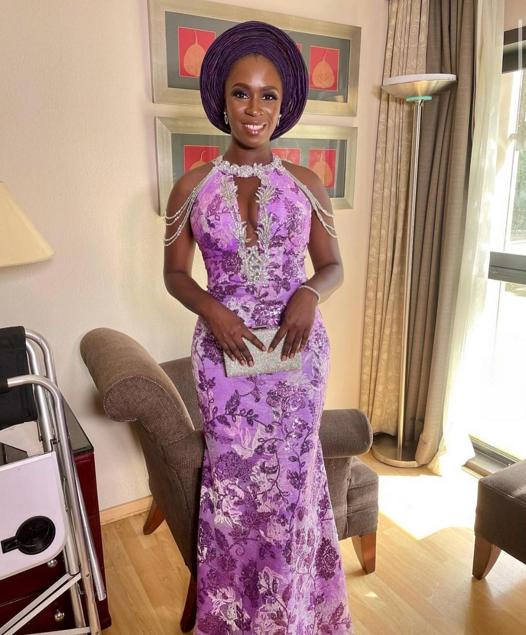 African Lace Style With Off Shoulder Rope Sleeves